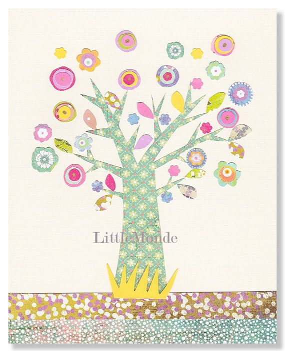 Baby Girl Nursery Art, Magical Tree Nursery Illustration, Art For Kids, Collage for Kids, Mixed Media Nursery art, Girl Nursery Prints Art for A Baby, by LittleMonde, $16.00