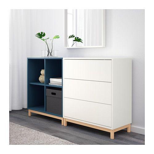 eket combinaison rangement avec pieds blanc bleu fonc fermer ikea et combinaisons. Black Bedroom Furniture Sets. Home Design Ideas