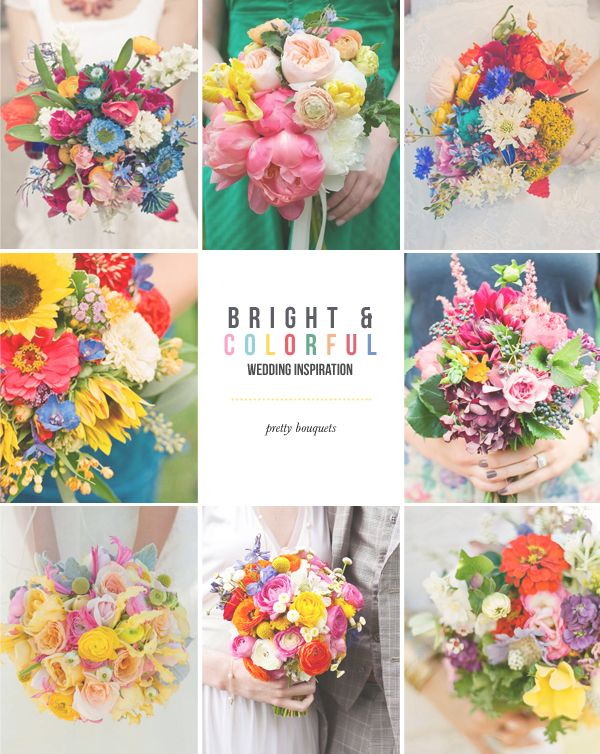 colorful wedding bouquets!