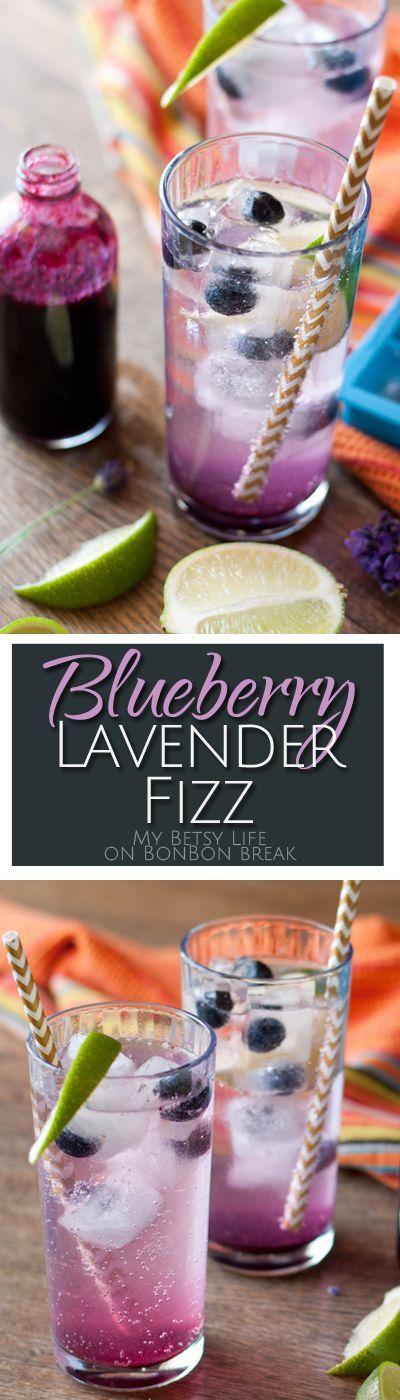 Blueberry Lavender Fizz Cocktails