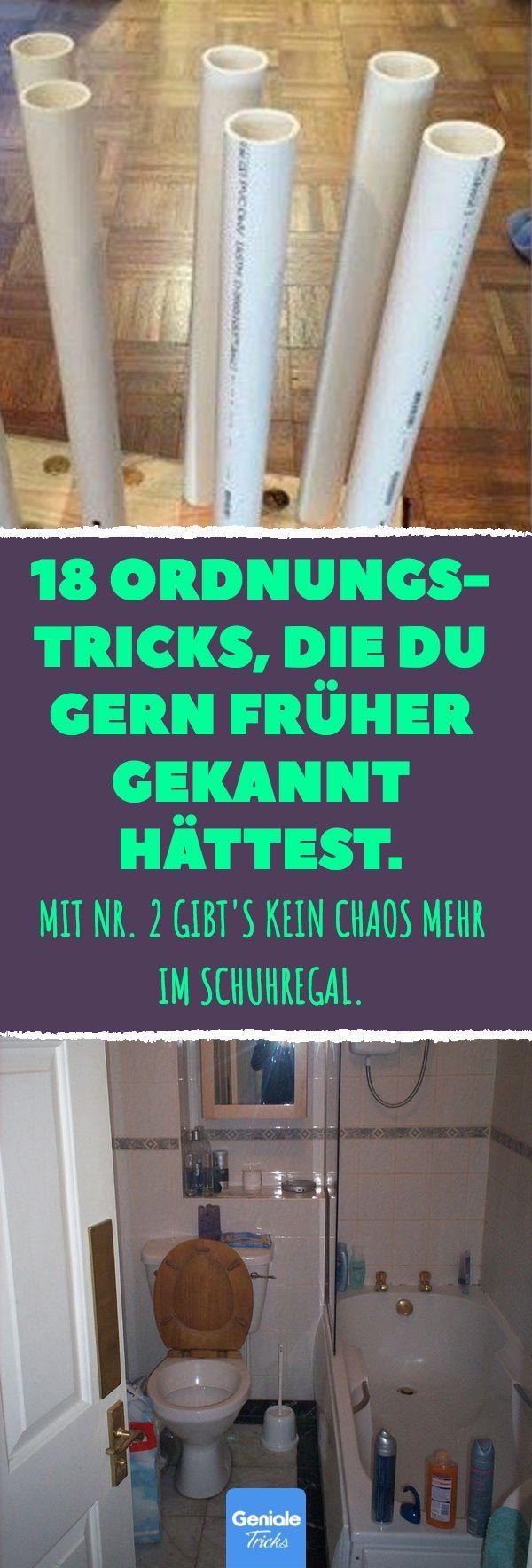 18 Ordnungstricks, die du gern früher gekannt hättest. Mit Nr. 2 gibt's kein Chaos mehr im Schuhregal. 18 Tricks und clevere Ideen für mehr Ordnung im Haushalt. #Ordnung #Tricks #Ideen #DIY #Haushalt #Stauraum