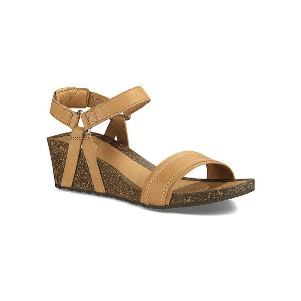 Teva Ysidro Stitch Wedge ($59) ❤ liked on Polyvore featuring shoes, sandals, tan, wedge shoes, tan wedge sandals, teva shoes, wedge sole shoes and wedge heel shoes