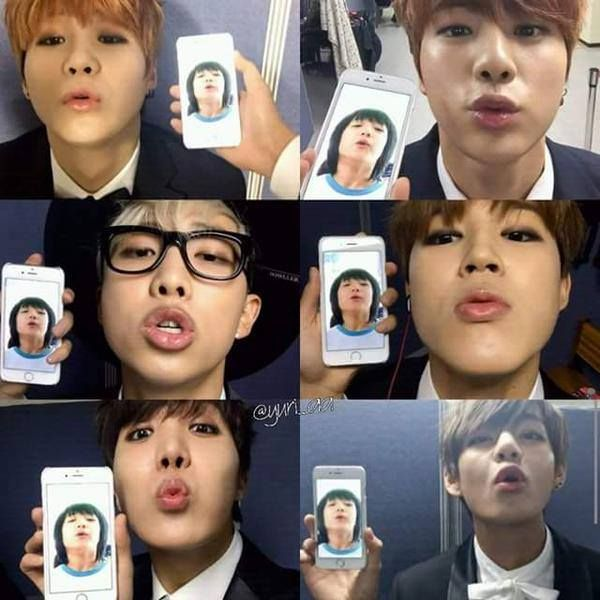 Bts copying pre-debut Jungkook XD // I really want to kiss those lips >///<