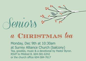 Excited for our senior's Christmas Tea in two weeks! Thanks to christmastimeclipart.com for such a great invite design! #christmas #tea surreyalliancechurch.org