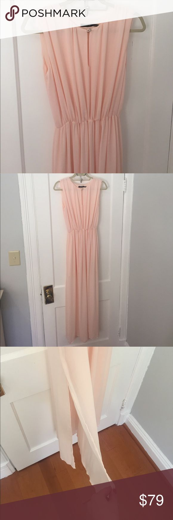 Massimo Dutti Pink Chiffon Dress Lovely maxi with side slits for more movement and a shorter lining. Massimo Dutti Dresses Maxi