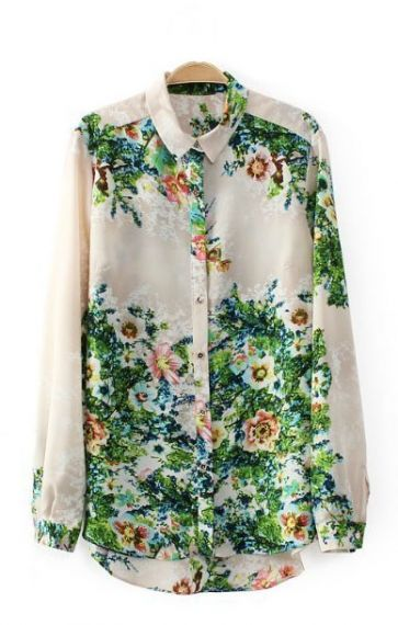 macchina: Chiffon Loose, Floral Prints, Floral Chiffon, Style, Vintage Floral, Long Sleeve, Floral Shirts, Blouses Shirts, Products