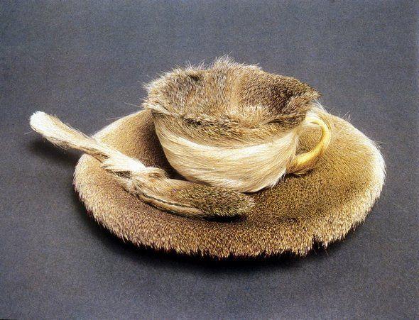 """Maret Oppenheim's """"Object (Le Dejeuner en Fourrure) 1936.... makes me think of fairies having tea!"""