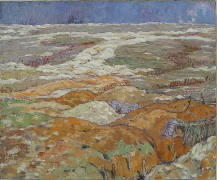 Trenches Near Angres, by Alexander Young Jackson, March 1918. Showing a ruined landscape on the Western Front, including captured German trenches and barbed wire snaking across the terrain.