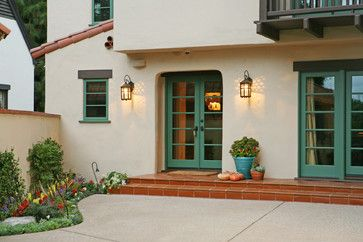 Spanish Revival Restoration mediterranean exterior. Love the color. Off White and turquoise