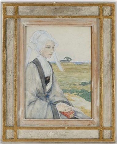 Jeune femme bretonne sur fond de paysage  (Brittany Young woman on landscape background) by Edgar Maxence