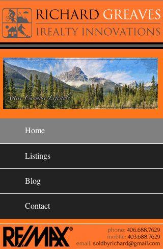 Custom Real Estate mobile website for realtor Richard Greaves