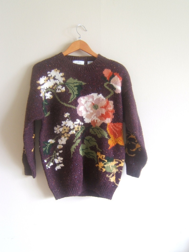 Wool Sweater: FLORAL sweater. $65.00, via Etsy.
