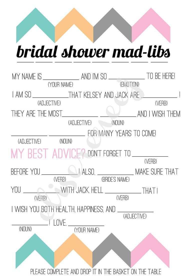 Printable Bridal Answers Games Shower