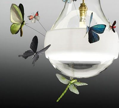 Like Moths to a Flame. Butterfly Lamps by Ingo Maurer with Insects by Graham Owen.