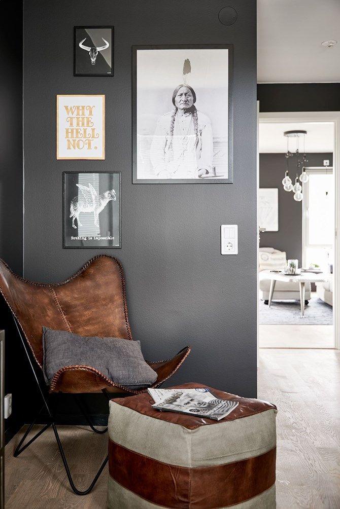 Post: Paredes negras en todas las habitaciones --> blog decoración nórdica, color negro pared, decoración interiores, diseño interiores, distribución abierta, estilo escandinavo, paredes negras, salón negro