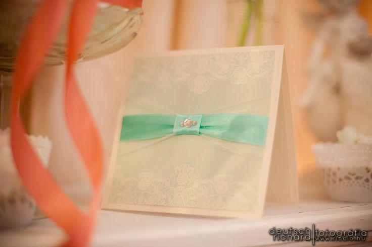 Wedding invitation with lace pattern, ribbon and rhinestone decoration- created by Enchantée