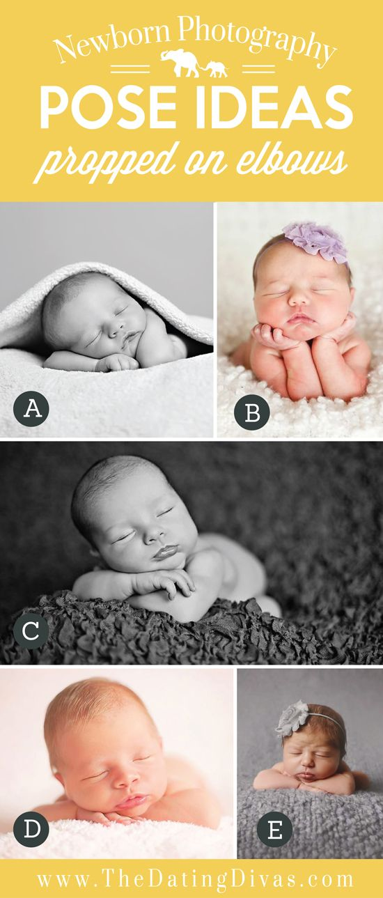 Precious Newborn Photography Pose Ideas with Baby Propped on Elbows