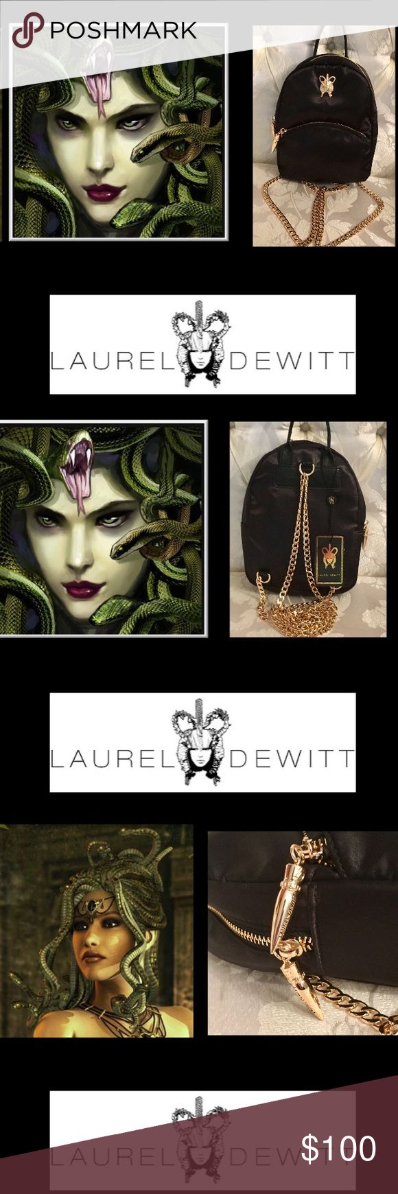 """🦋Laurel Dewitt•Goddess Backpack This Egyptian Goddess Backpack elegant chain backpack straps. Perfect for day or night on the town•an Egyptian Goddess emblem,one carrying handle,gold chain link shoulder straps, and zip closure. Interior: one zip pocket and one open pocket•Logo Lining  •LD Dagger Pullers with Logo  7"""" x 3.5"""" x 8.5"""" Exterior: one zip pocket🌹SOLD OUT🌹 Laurel Dewitt Bags Backpacks"""