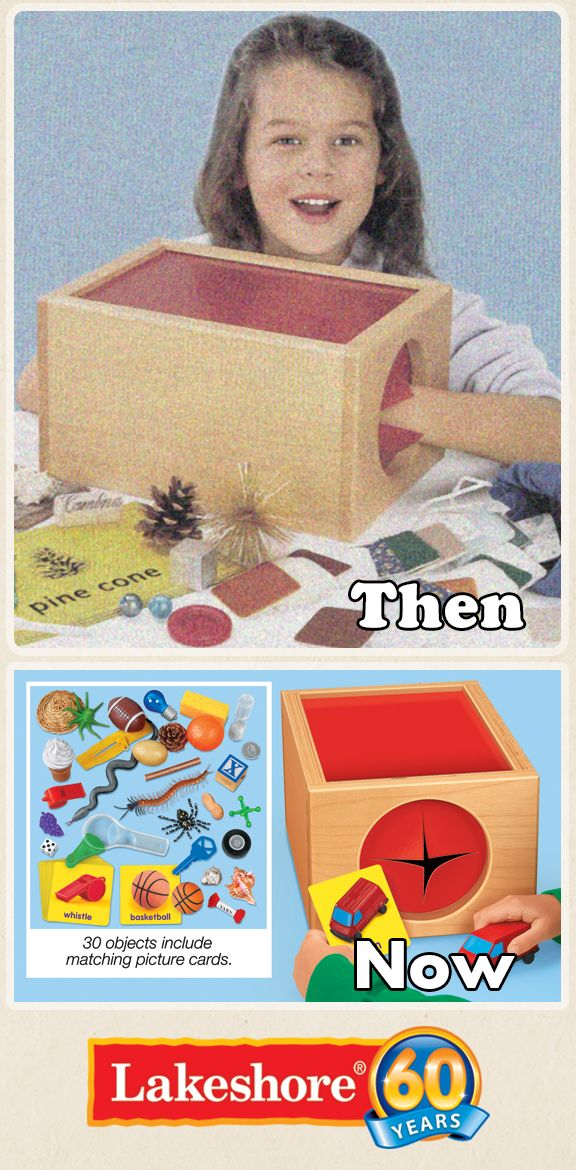 It's no surprise that The Mystery Box is still a favorite among tots. Kids simply reach inside and feel, match and compare the objects to increase tactile awareness, vocabulary, memory and communication skills! www.LakeshoreLearning.com/Pin2WinRewind