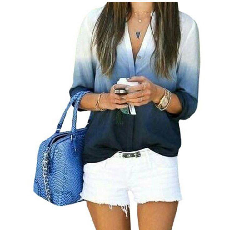 2016 New Women Summer Ladies Casual  V Neck Blouses Loose Shirts Gradual Change Long Sleeve CSN007
