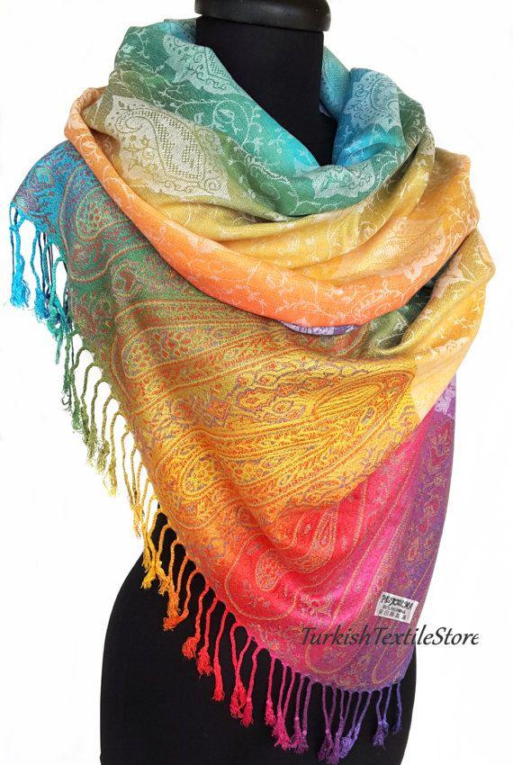 Paisley Rainbow Pashmina Scarf Cashmere by TurkishTextileStore