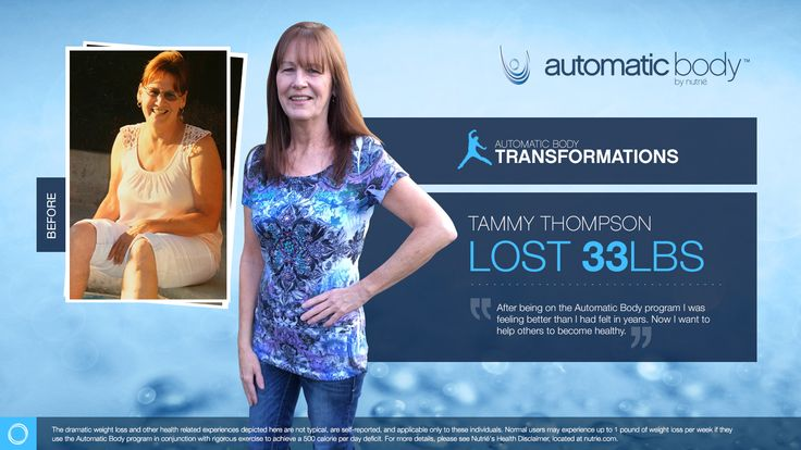 I'm so excited to be a finalist in the Automatic Body Transformation Contest. My Name is Tammy Thompson and I have lost 33 pounds with help from the Automatic Body program.  CLICK HERE TO TRY OUT OUR APP FOR FREE AND SAMPLE OUR AMAZING PRODUCT:WWW.NUTRIESAMPLE.COM