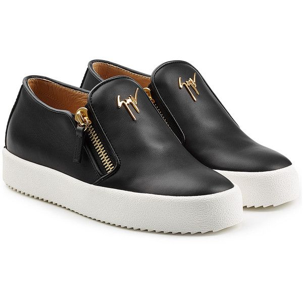 Giuseppe Zanotti Leather Platform Sneakers (695 AUD) ❤ liked on Polyvore featuring shoes, sneakers, black, black leather shoes, black shoes, platform sneakers, black leather trainers and giuseppe zanotti sneakers