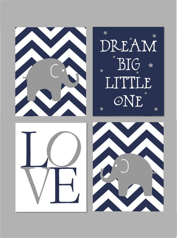 50% Off Sale Navy and Grey Nursery Elephant Nursery Dream Big
