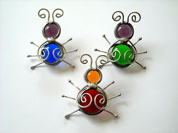 3 Stained Glass Screen Door Beetle Bug Suncatchers - Reserved Order