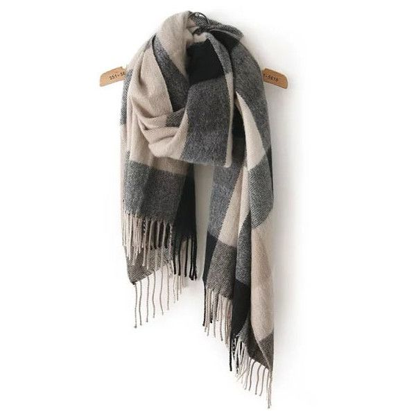 Black Grey Plaid Tassel Classical Scarve ($11) ❤ liked on Polyvore featuring accessories, scarves, multicolor, plaid scarves, multi colored scarves, grey scarves, tartan shawl and gray scarves