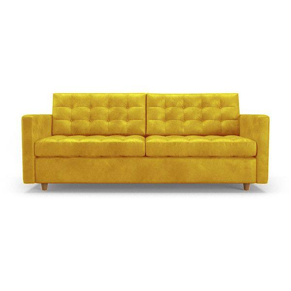 Eliot Mid Century Modern Yellow Leather Sleeper Sofa 4 859 Liked On Polyvore