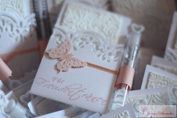 Freudentränen Taschentücher mit Seifenblasen Schmetterling Spitze geprägtes Taschentuch Wedding Bubbles lachs farben