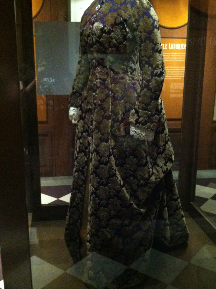 """Saque Dress  From the Bata Shoe Museum's """"Fashion Victims: The Pleasures and Perils of Dress in the 19th Century"""" exhibit."""