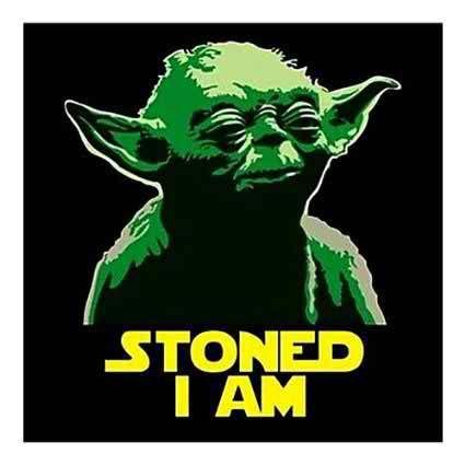 "2.5"" Funny Marijuana Sticker. Stoned Yoda. Star Wars. Great for Bong or Pipe"