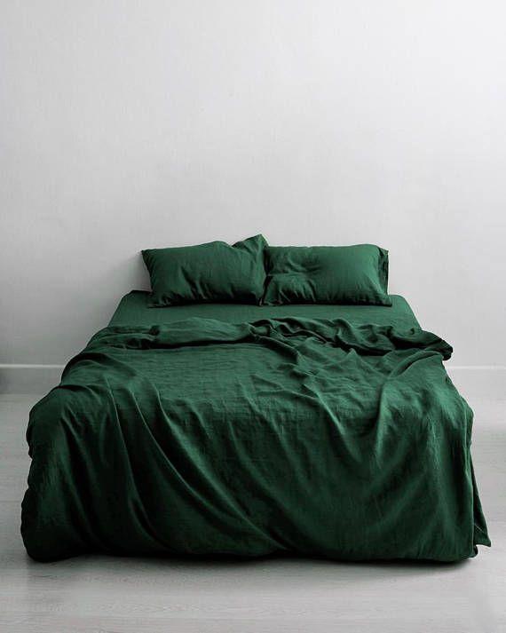 3 Piece Linen Bedding Set Forest Green Linen Duvet Cover 2 Perfectbedlinens Bed Linen Sets Bed Linens Luxury Bed Duvet Covers