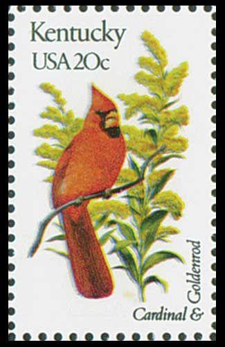 1982 Kentucky State Stamp - State Bird Cardinal -State Flower Goldenrod.