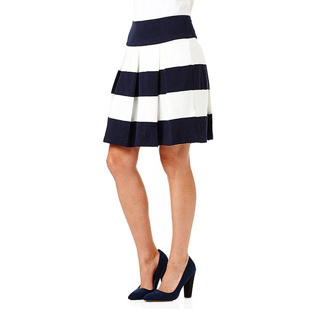 Contrast Ponte Skirt - Stripe