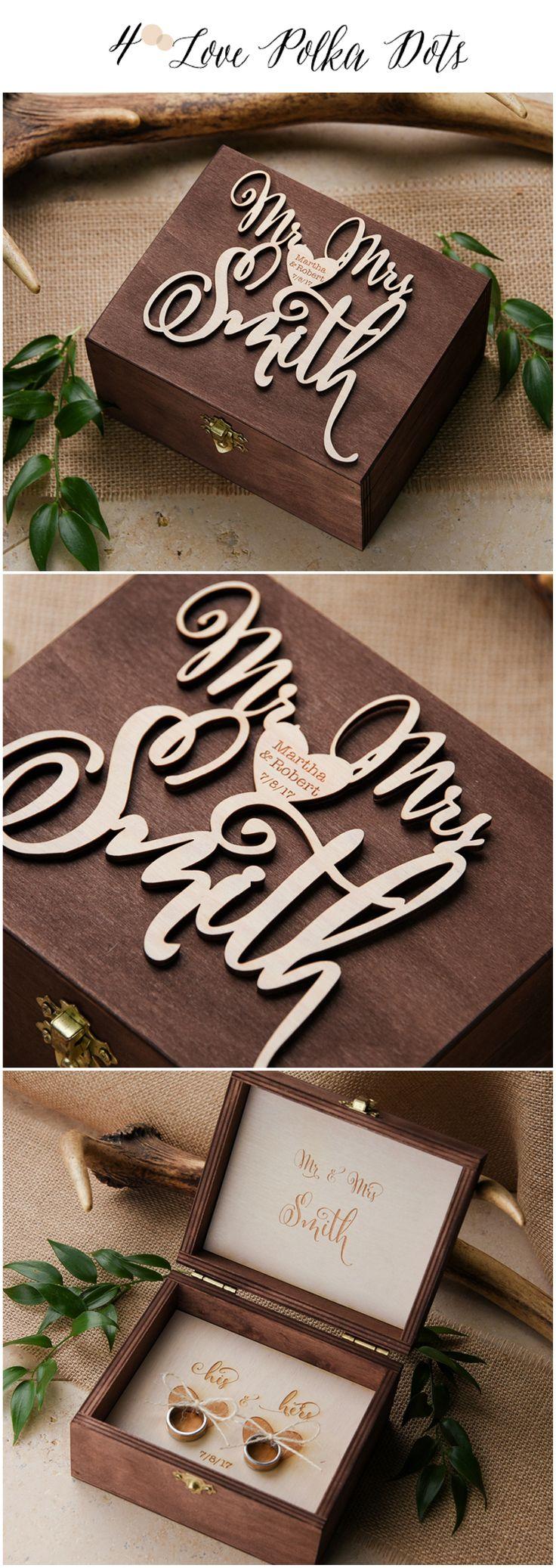 Mr & Mrs Wooden Wedding Ring Bearer box with custom engraving #sponsored