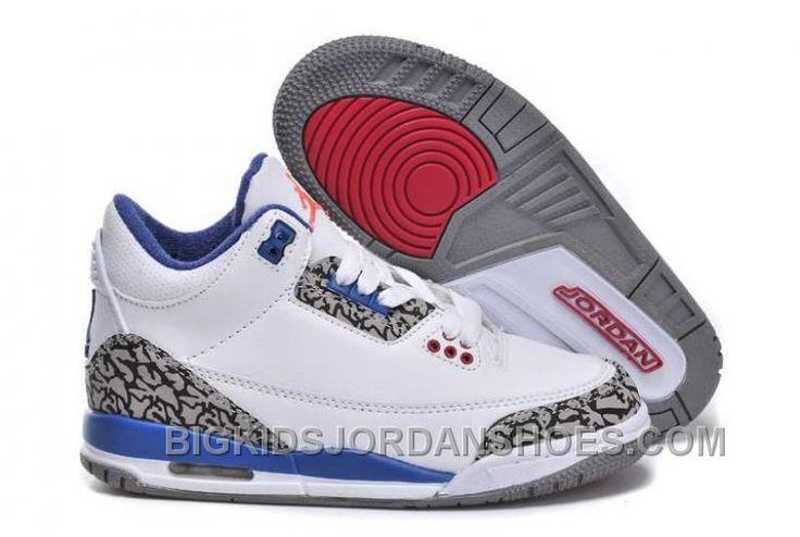 http://www.bigkidsjordanshoes.com/hot-nike-air-jordan-3-kids-white-blue-red-shoes.html HOT NIKE AIR JORDAN 3 KIDS WHITE BLUE RED SHOES Only $84.39 , Free Shipping!