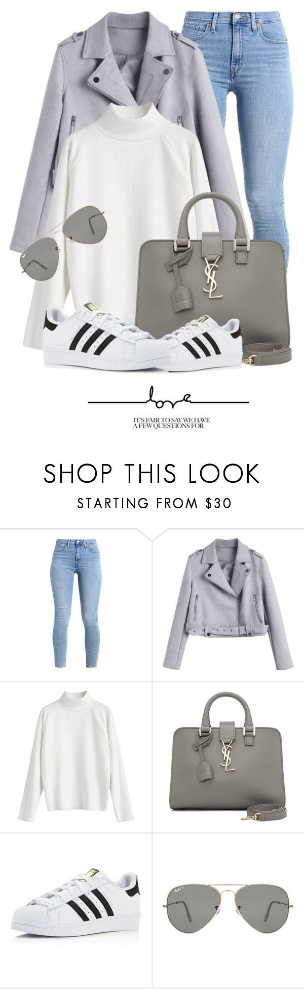 """Outfit Of The Day"" by monmondefou ❤ liked on Polyvore featuring Yves Saint Laurent, adidas, Ray-Ban and gray"