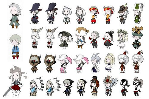 The character classes of Final Fantasy: Four Heroes of Light.  Art by Akihiko Yoshida.