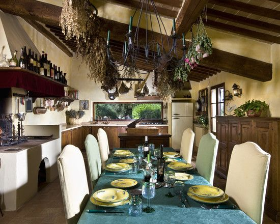 , Cool Rustic Kitchen With Italian Interior Design Also Elegant Italian Dining Furniture Style Also Cyan Tablecloth Color And Black Antique Chandelier And Wooden Wine Rack On Top And Elegant Dining Appliances: Couch and Table Italian Style Furniture