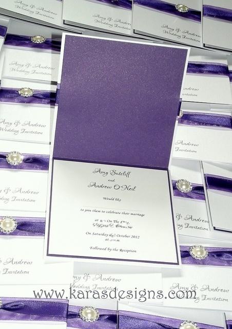 cadbury purple inside wedding invite by Karasdesigns, via Flickr