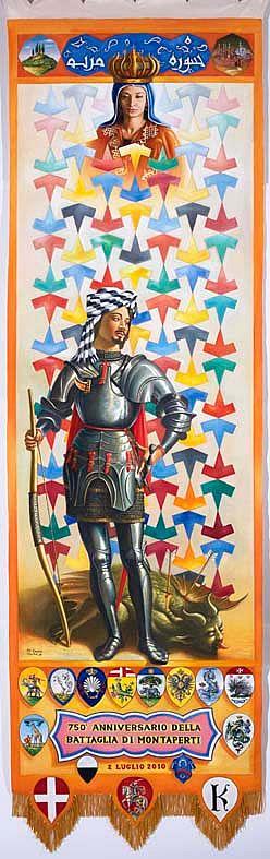 Applausi per il Drappellone di Ali Hassoun. Piace il Cencio per il Palio del 2 luglio dell'artista libanese PRESENTAZIONE DRAPPELLONE PALIO 2 LUGLIO 2010 • VALDELSA.NET