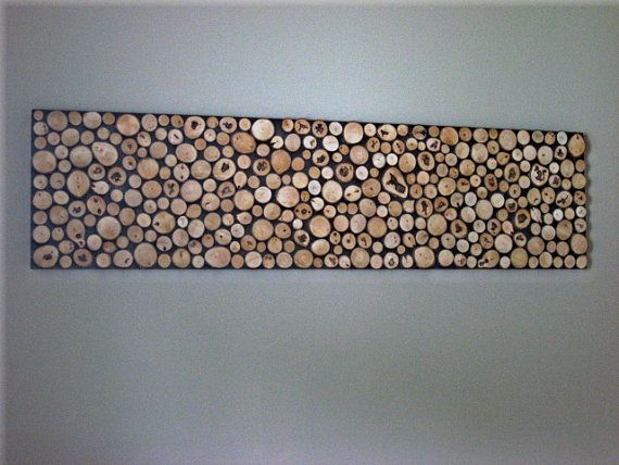 Wood Slice Wall Art Sculpture by ModernRusticArt on Etsy, $225.00... I could make something like this into a headboard!
