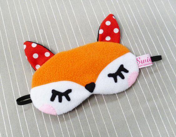 FREE SHIPPING - Sleeping Eye Mask - Kawaii Woodland Animal - The Little Red Fox. $25.00, via Etsy.
