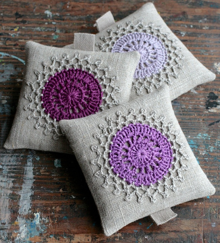 I will be making lavender satchets very soon, I'd be delighted if mine turn out this pretty!  Lavender sachets from etsy seller namolio.