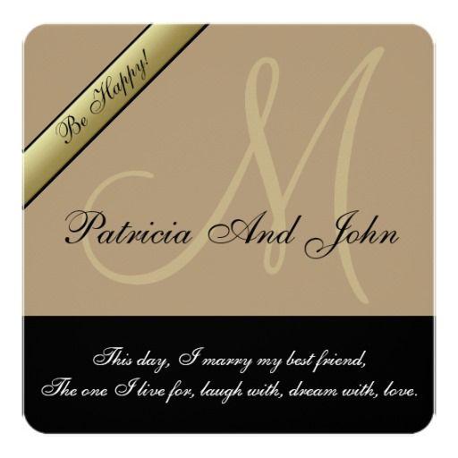 Starfish Brown Black Monogram Wedding Invitations