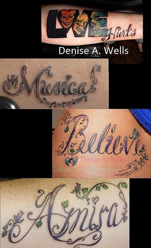 Believe Love Music Tattoo Designs by Denise A. Wells