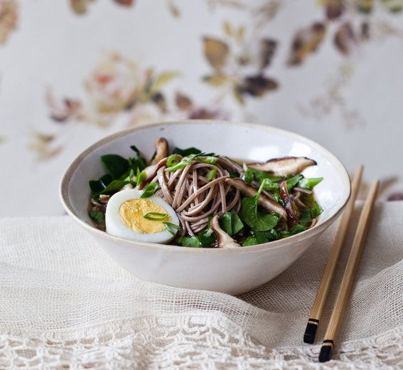 Candice's Clean Soba Noodle Soup // Soba noodles, veggie stock, tamari soy sauce, garlic, ginger, shiitake mushrooms, scallions, spinach leaves, hardboiled eggs + sea salt
